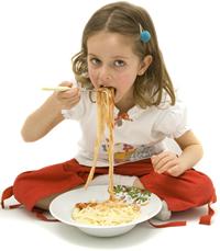 Girl Eating Spaghetti